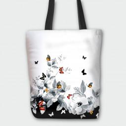 Текстилна торбичка - Цветя и пеперуди