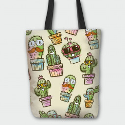 Текстилна торбичка - Весели кактуси