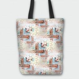 Текстилна торбичка - Цветя и фигури
