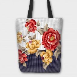 Текстилна торбичка - Цветя и текстури