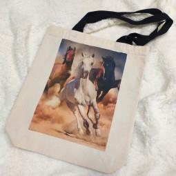 Натурална текстилна торбичка - Коне