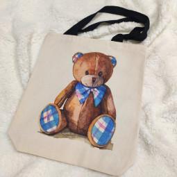 Натурална текстилна торбичка - Мече