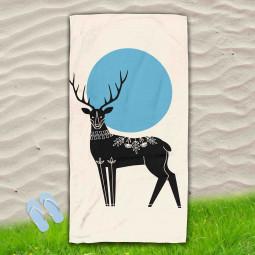 Постелка за Плаж - Рисуван елен