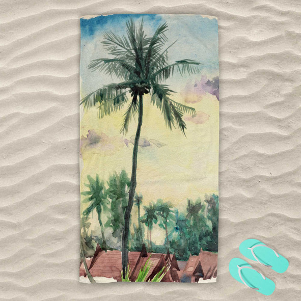 Плажна хавлиена кърпа - Тропически акварел