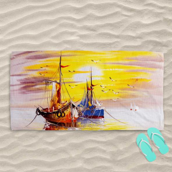 Плажна хавлиена кърпа - Слънце и кораби