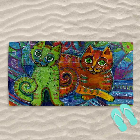 Плажна хавлиена кърпа - Арт котета