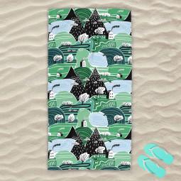 Плажна хавлиена кърпа - Горски къщички