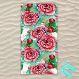 Плажна хавлиена кърпа - Червени рози