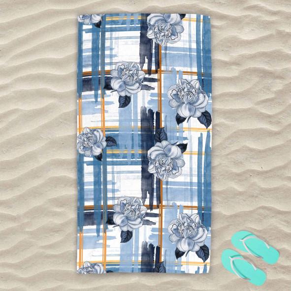 Плажна хавлиена кърпа - Сини рози