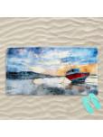 Плажна хавлиена кърпа - Самотна лодка