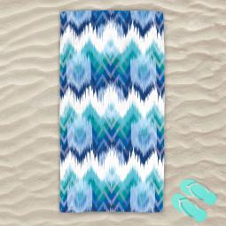 Плажна хавлиена кърпа - Синьо и зелено