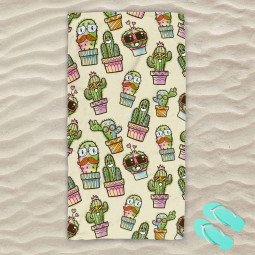 Плажна хавлиена кърпа - Весели кактуси