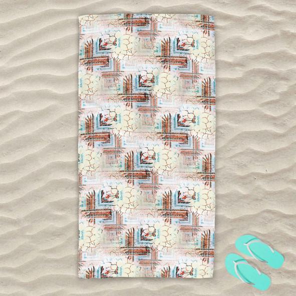 Плажна хавлиена кърпа - Цветя и фигури