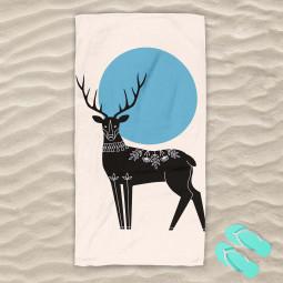Плажна хавлиена кърпа - Рисуван елен