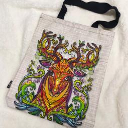 Текстилна торбичка - Цветен елен